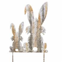 Lapins de Pâques Décoration de jardin Aspect bouleau Rouille Métal 25×32cm