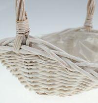 Anse panier ovale en blanc 26cm
