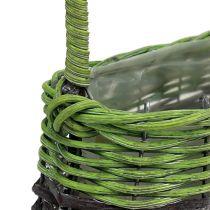 Panier à anses ovale 23 x 12 x H. 16 cm brun-vert