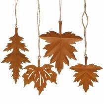Patine des feuilles d'automne à accrocher 13cm 4pcs