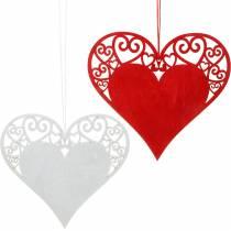 Coeur à accrocher, décoration de mariage, pendentifs coeur, décoration coeur, Saint Valentin 12pcs