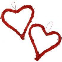 Cœur creux rouge 15 cm 8 p.