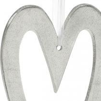 Coeur décoratif à suspendre décoration de mariage en aluminium argenté 22×12cm