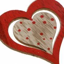 Coeur rouge, blanc, bois naturel assorti 4,5x4,5cm 24pcs