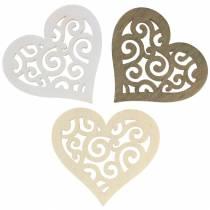 Cœurs en bois blanc/crème/marron à parsemer 4 cm