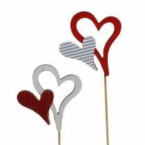 Clous coeur en bois rouge, blanc 38cm 12pcs