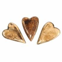 Coeurs en bois de manguier émaillé naturel 6,2–6,6 cm × 4,2–4,7 cm 16pcs