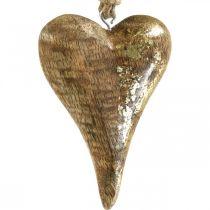 Coeurs en bois avec décor doré, bois de manguier, pendentifs décoratifs 10cm × 7cm 8pcs