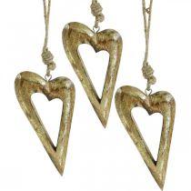 Déco coeur, bois de manguier effet doré, décoration bois à accrocher 13,5cm × 7cm 4pcs