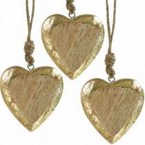 Coeurs à accrocher, bois de manguier, décoration bois effet doré 8.5cm × 8cm 6pcs