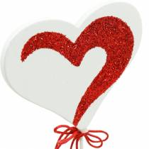 Coeur sur le bâton rouge, blanc Dekoherz pique-fleur Saint-Valentin 16pcs