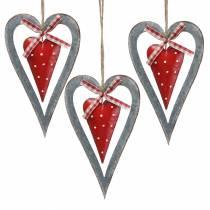 Coeur décoratif à suspendre en métal rouge, argent Ø8.8 H15cm 3pcs
