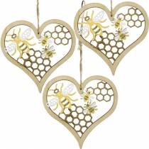 Coeur décoratif abeilles jaune, coeur en bois doré pour accrocher la décoration d'été 6pcs