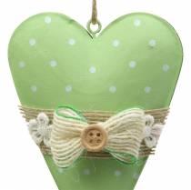 Cintre coeur métal vert citron vert, blanc assorti H11cm 4pcs