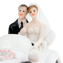 Figurine de mariage couple dans cabriolet 15 cm