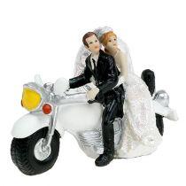 Figurine de mariage,  couple sur moto 9 cm
