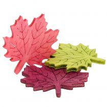 Feuille d'érable en bois à parsemer, couleurs assorties 4 cm 72 p.