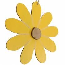 Fleurs en bois à suspendre, décoration printanière, fleurs en bois jaune et blanc, fleurs d'été 8pcs