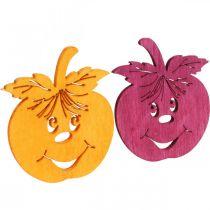 Pomme qui rit Streudeko, automne, décoration de table, pommette orange, jaune, verte, rose H3,5cm L4cm 72pcs