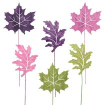 Mélange de feuilles de bois à piquer 8 cm L. 30 cm erica, vert 12 p.