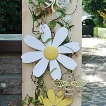 Fleurs en bois, décoration d'été, marguerites jaunes et blanches, fleurs de décoration à suspendre 4pcs