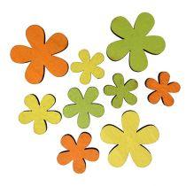 Fleur en bois 2 - 3,5 cm orange, vert, jaune 36 p.