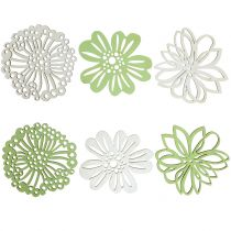 Fleur en bois verte / blanche 5cm 36pcs