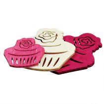 Décoration de table cupcakes en bois couleurs pastel décoration d'anniversaire muffins 24pcs