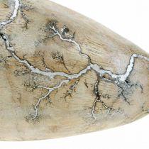 Oeuf de Pâques en manguier bois naturel de décoration de Pâques blanchi à la chaux H16cm