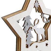 Etoile en bois avec motif suspendu 15cm 3pcs