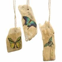 Pendentif bois flotté avec papillon 8-13cm 36p