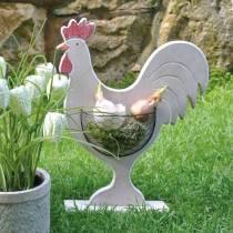 Coq en bois avec panier, décoration de Pâques, figurine en bois pour la plantation, décoration de printemps, poulet décoratif