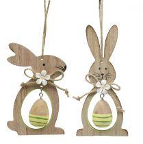 Décoration à accrocher lapin en bois avec oeuf 4pcs