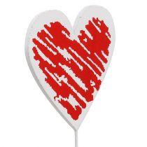Cœur en bois sur tige 7 x 7 cm blanc, rouge 12 p.