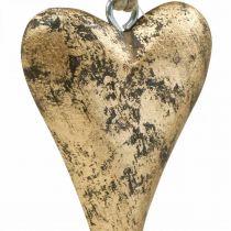 Coeur en bois effet or, Saint Valentin, décoration mariage 10×7cm