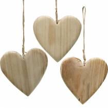 Coeur en bois pour accrocher des coeurs décoratifs nature Saint Valentin 3pcs