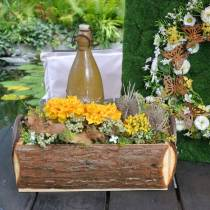 Jardinière Jardinière en écorce avec poignées Boîte en bois naturel