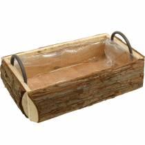 Boîte en bois pour la plantation, pot de fleurs avec poignées, boîte à fleurs avec écorce 45,5 cm