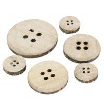 Bouton décoratif en bois blanchi 15 p.