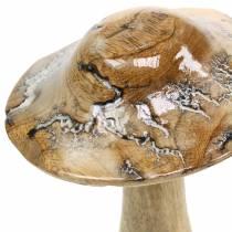 Champignon en bois émaillé nature / blanc H20cm