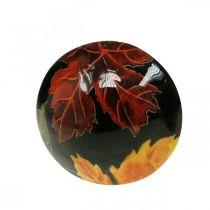 Déco de table champignon bois déco feuilles d'automne noir, coloré Ø10cm H15cm