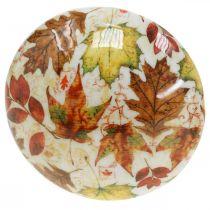 Décoration champignon en bois feuilles d'automne blanc, décoration d'automne colorée Ø13cm H19cm