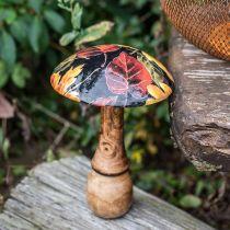 Champignon en bois décoration feuilles colorées décoration automne noir, coloré Ø13cm H19cm
