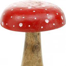 Champignon décoratif en bois d'agaric mouche automne Ø12cm H19cm