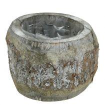 Pot en bois pour plantations blanchi Ø14 cm