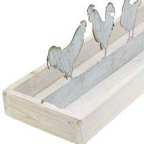 Tablette en bois avec figurines métalliques Ccoqs 46cm