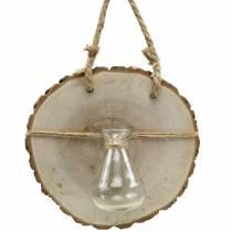 Disque de bois avec vase en verre Ø22cm à suspendre