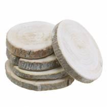 Disques en bois ronds blanchis à la chaux Ø3-4.5cm 400g dans un filet