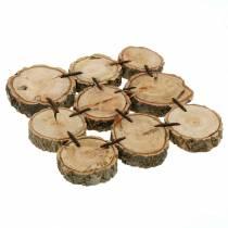 Dessous de verre décoratif, tranches de bois, naturel 22 × 22cm