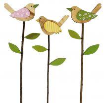 Broche en bois oiseau couleur L30cm 9pcs